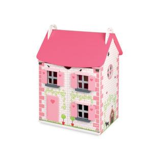 Růžový dřevěný domeček pro panenky Mademoiselle Janod