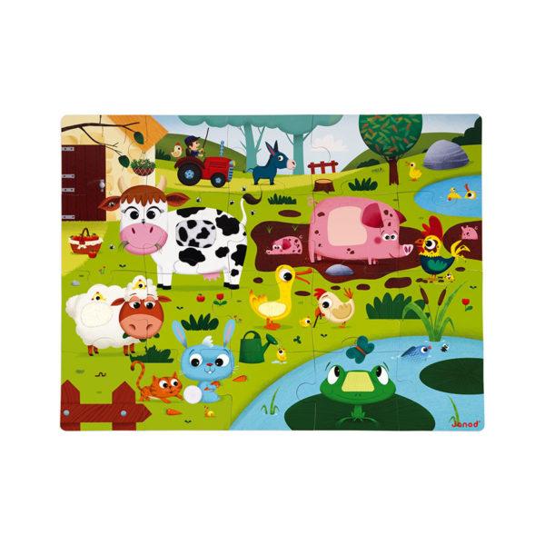 Puzzle dotykové Zvířátka na farmě Janod s texturou od 3 let